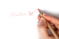 Problem solved writing with a red pencil Royalty Free Stock Photo