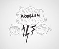 Problem symbol illustration vector concept of cloud with the word inside isolated on gray background Royalty Free Stock Photography