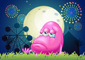 A problematic pink monster near the carnival illustration of Royalty Free Stock Photography