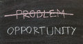 Problems crossed out and opportunity on blackboard Royalty Free Stock Image