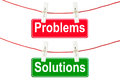 Problems and Solutions signs Stock Photo