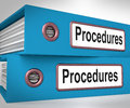 Procedures folders mean correct process and best practice meaning Royalty Free Stock Photo