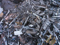 A process of buliding destruction, demolished house, shot from air with drone Royalty Free Stock Photo