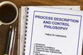 Process description and control philosophy abstract with coffee Royalty Free Stock Photos