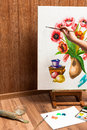 Process of drawing watercolor flowers Royalty Free Stock Photo