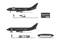The process of loading and unloading of the aircraft Royalty Free Stock Photo