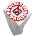 Process procedure workflow paperwork stack busy task job and words around a checkmark on a of papers to illustrate inefficient Royalty Free Stock Photography