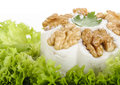 Processed cheese with walnuts white and fresh lettuce Stock Photos