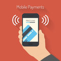 Processing of mobile payments illustration flat design style modern smartphone with the from credit card on the screen near Stock Image