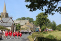 Procession, people and floats village fete day Royalty Free Stock Photo