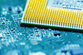 Processor on blue circuit board with gold-plated contacts close up. Bottom view from the pins side Royalty Free Stock Photo