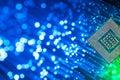 Processor Chip On Fiber Optics Royalty Free Stock Photo