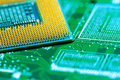 Processor on circuit board with gold-plated contacts close up. Bottom view from the pins side Royalty Free Stock Photo