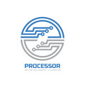 Processor CPU - vector logo template for corporate identity. Abstract computer chip sign. Network, internet technology concept Royalty Free Stock Photo