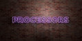 PROCESSORS - fluorescent Neon tube Sign on brickwork - Front view - 3D rendered royalty free stock picture