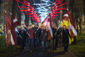 Proclamation day of the republic of latviain riga latvia november november torchlight procession is one traditions november Stock Images