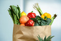 Produce in Grocery Bag Royalty Free Stock Photo