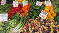 Produce market assorted vegetables on display in open air Royalty Free Stock Photography