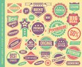 Product labels, stickers, emblems, stamps and badges collection