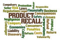Product recall word cloud on white background Royalty Free Stock Photos