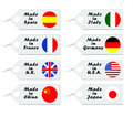 Product tags purchase with flags of different countries Royalty Free Stock Photos