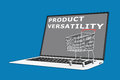 Product versatility concept d illustration of script with a supermarket cart placed on the keyboard Royalty Free Stock Images
