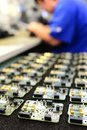 Production and assembly of microelectronics in a hi-tech factory Royalty Free Stock Photo