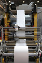 The production of plastic packages machine from manufacture from rolls Stock Photos
