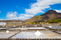 Production of sea salt from the waters of the indian ocean in ma mauritius on a background mountains Royalty Free Stock Photo