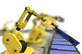 Production of solar panels with robot arms Royalty Free Stock Photo