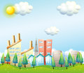 A productive city under the heat of the sun illustration Royalty Free Stock Photo