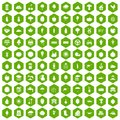 100 productiveness icons hexagon green