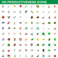 100 productiveness icons set, cartoon style