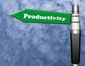 Productivity fountain pen road sign with pillar Royalty Free Stock Photo