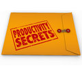 Productivity secrets yellow envelope tips help advice words stamped on to give you guidance or on increasing the output of your Stock Photography
