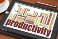 Productivity word cloud on a digital tablet with cup of tea Royalty Free Stock Images