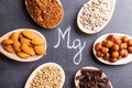 Products rich in magnesium Royalty Free Stock Photo