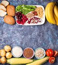 Healthy products sources of carbohydrates. Royalty Free Stock Photo