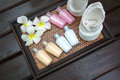 Products for spa composition of body care and hygiene Royalty Free Stock Photo