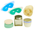 Products to pamper yourself eye masks loofah and cream and relax you isolated Stock Photography
