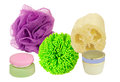 Products to pamper yourself sponge loofah and creams on a white background Stock Photos