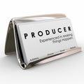Produzent business cards experienced das sachen macht geschehen Stockfoto