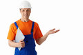 Profession builder in helmets on a white background Royalty Free Stock Photography