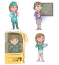 Profession kids vendor merchant and teacher driver and manager secretary Royalty Free Stock Image
