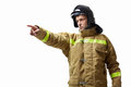 Profession mature fireman in uniform on a white background Stock Photos