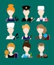 Profession people cop,  doctor, cook, hairdresser, an artist, teacher, waiter, a businessman, secretary. Face men uniform. Avatars Royalty Free Stock Photo