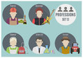 Profession people set flat style icons in circles Royalty Free Stock Photos