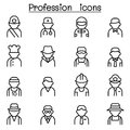 Profession & Career icon set in thin line style