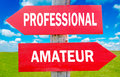 Professional or amateur and choice showing strategy change dilemmas Stock Photos