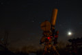 Professional astrophotography equipment working under the dark sky Royalty Free Stock Photo
